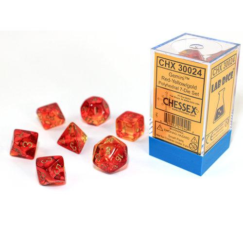 Chessex DICE SET 7 GEMINI: RED / YELLOW / GOLD