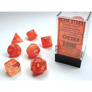 Chessex DICE SET 7 GHOSTLY GLOW ORANGE/YELLOW