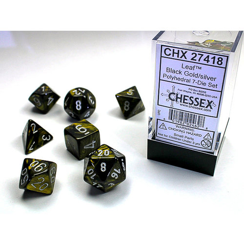Chessex DICE SET 7 LEAF BLACK GOLD