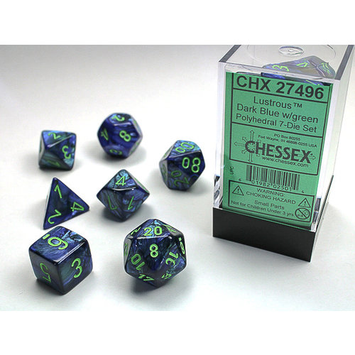 Chessex DICE SET 7 LUSTROUS DARK BLUE