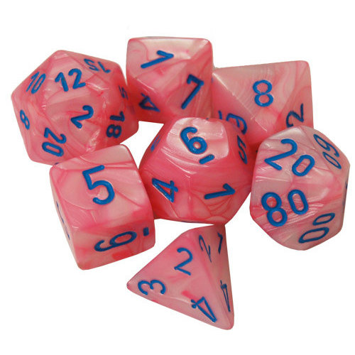 Chessex DICE SET 7 LUSTROUS PINK / BLUE Lab Dice