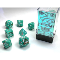 DICE SET 7 MARBLE OXI COPPER