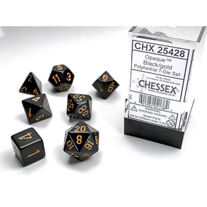 Chessex DICE SET 7 OPAQUE BLACK-GOLD