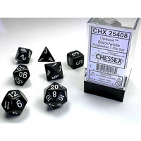 DICE SET 7 OPAQUE BLACK-WHITE