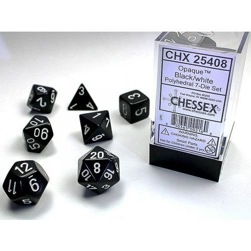 Chessex DICE SET 7 OPAQUE BLACK-WHITE