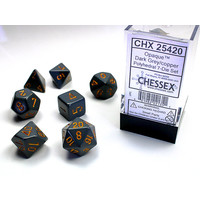 DICE SET 7 OPAQUE DARK GREY-COPPER