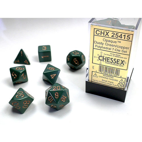 Chessex DICE SET 7 OPAQUE DUSTY GREEN