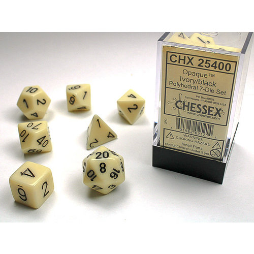Chessex DICE SET 7 OPAQUE IVORY