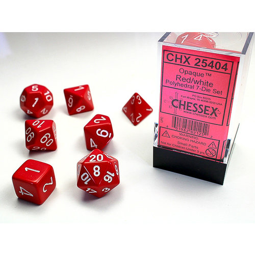 Chessex DICE SET 7 OPAQUE RED W/WHITE