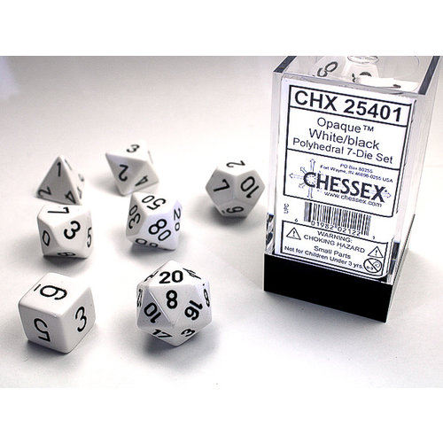 Chessex DICE SET 7 OPAQUE WHITE