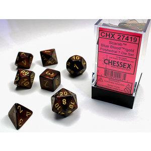 Chessex DICE SET 7 SCARAB BLUE BLOOD