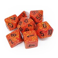DICE SET 7 SPECKLED: FIRE