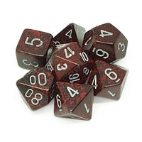 DICE SET 7 SPECKLED SILVER VOLCANO