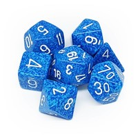 DICE SET 7 SPECKLED WATER