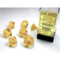 DICE SET 7 TRANSLUCENT YELLOW