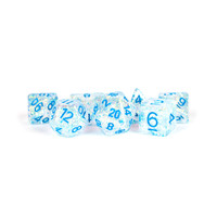 DICE SET 7 FLASH: CLEAR / BLUE