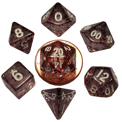 Metallic Dice Company DICE SET 7 MINI: ETHEREAL BLACK / WHITE