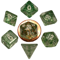 DICE SET 7 MINI ETHEREAL: GREEN / WHITE