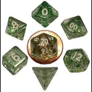 Metallic Dice Company DICE SET 7 MINI ETHEREAL: GREEN / WHITE