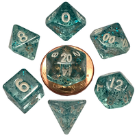 DICE SET 7 MINI: ETHEREAL LIGHT BLUE / WHITE