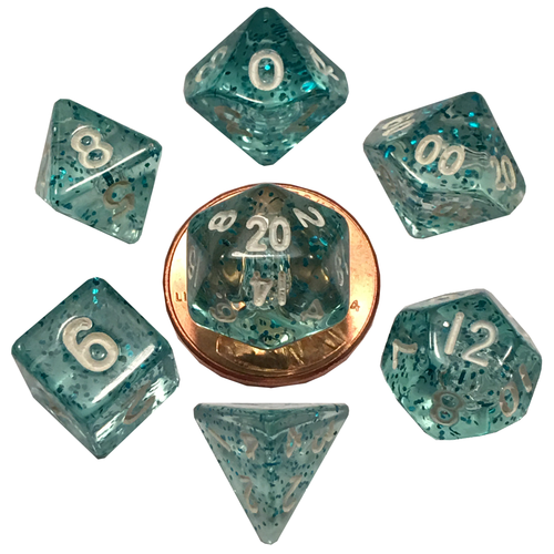 Metallic Dice Company DICE SET 7 MINI: ETHEREAL - LIGHT BLUE / WHITE