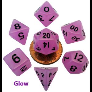 Metallic Dice Games DICE SET 7 MINI: GLOW-IN-THE-DARK PURPLE