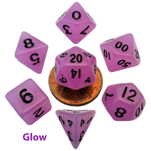 Metallic Dice Company DICE SET 7 MINI: GLOW-IN-THE-DARK PURPLE