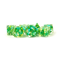 DICE SET 7 PEARL RESIN: SEA FOAM / GREEN