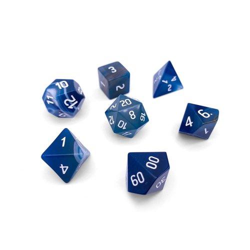 Norse Foundry DICE SET 7 GEM AGATE BLUE