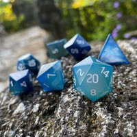 DICE SET 7 GEM AGATE BLUE