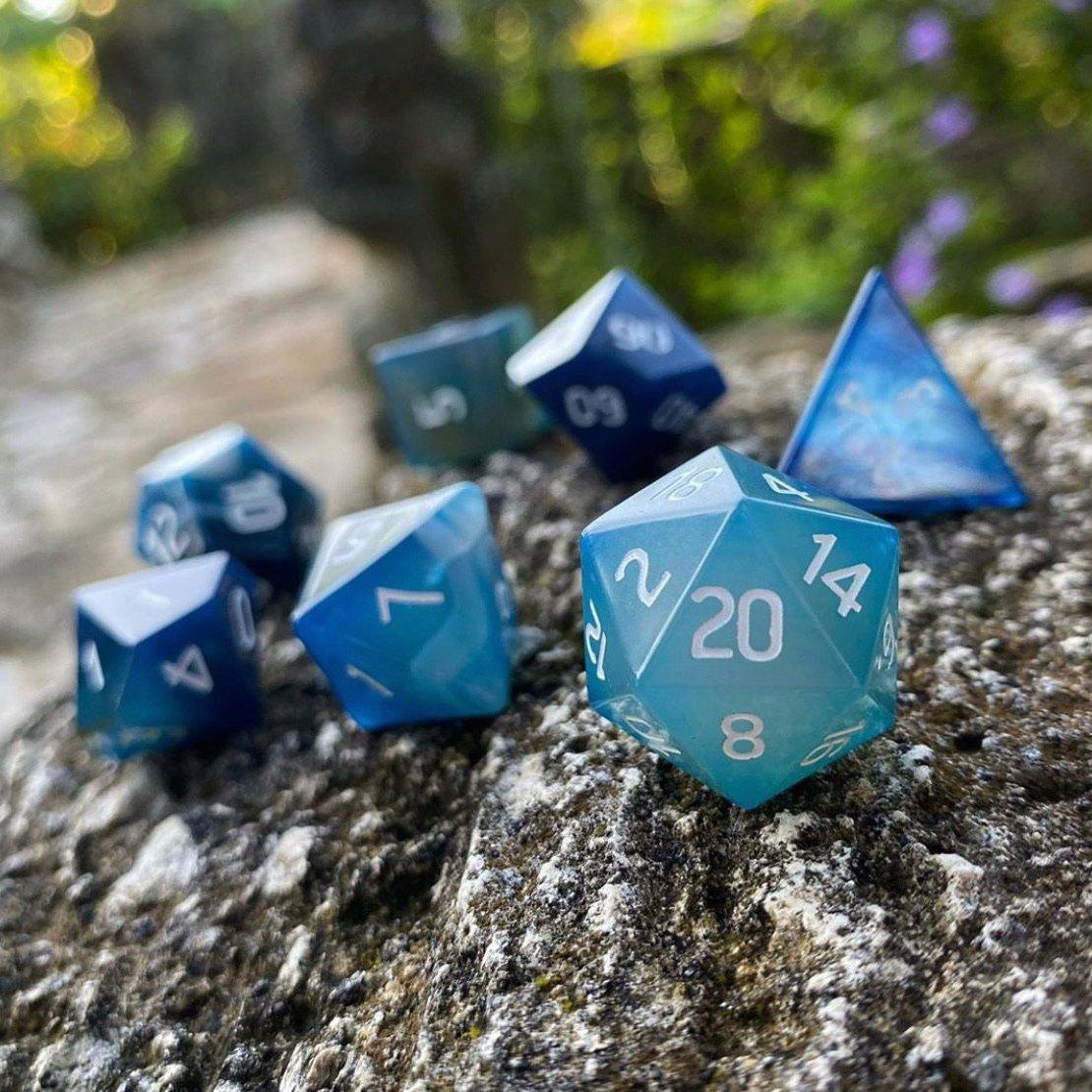 Dice Set 7 Gem Agate Blue Games Of Berkeley This massive metal d20 makes tables and foes tremble at its might. games of berkeley