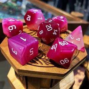 Norse Foundry DICE SET 7 GEM AGATE PINK