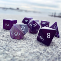 DICE SET 7 GEM AGATE PURPLE