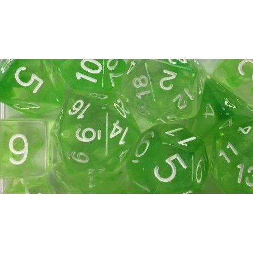 Role 4 Initiative DICE SET 7 DIFFUSION: SLIME GREEN / WHITE
