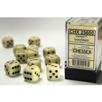 DICE SET 16mm OPAQUE IVORY