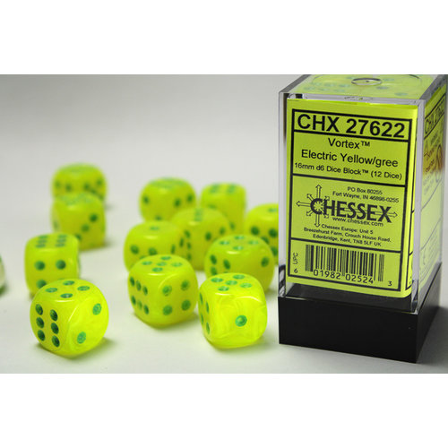 Chessex DICE SET 16mm VORTEX ELECTRIC YELLOW-GREEN