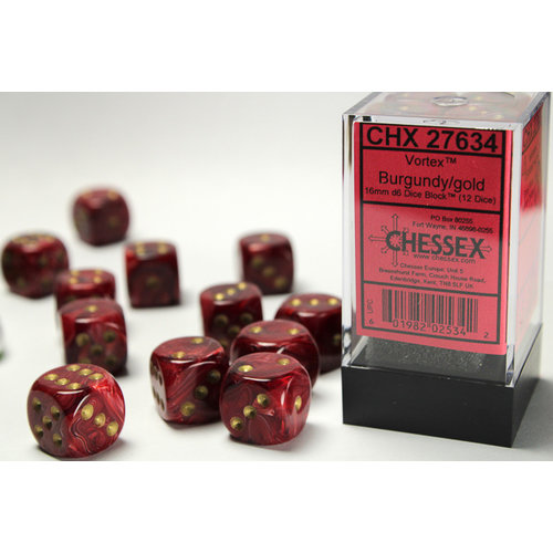 Chessex DICE SET 16mm VORTEX BURGUNDY
