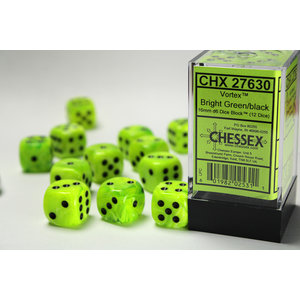 Chessex DICE SET 16mm VORTEX BRIGHT GREEN