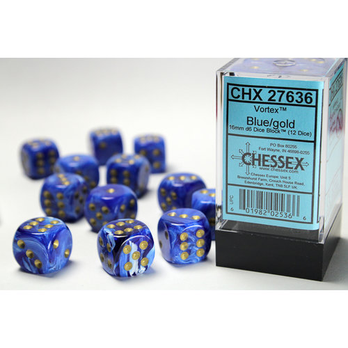 Chessex DICE SET 16mm VORTEX BLUE