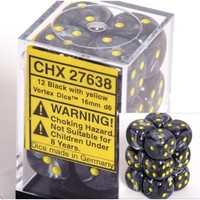 DICE SET 16mm VORTEX BLACK