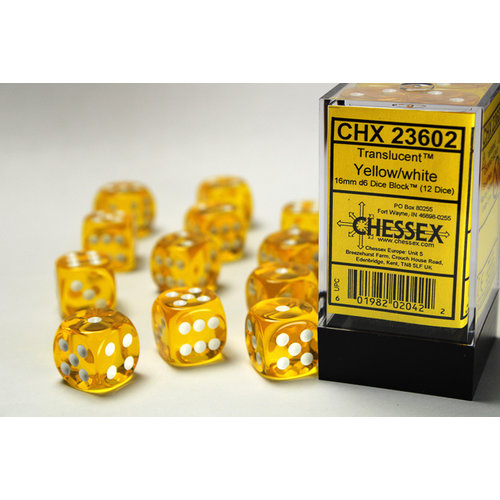 Chessex DICE SET 16mm TRANSLUCENT YELLOW