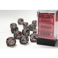 DICE SET 16mm TRANSLUCENT SMOKE/RED