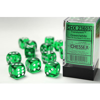 DICE SET 16mm TRANSLUCENT GREEN