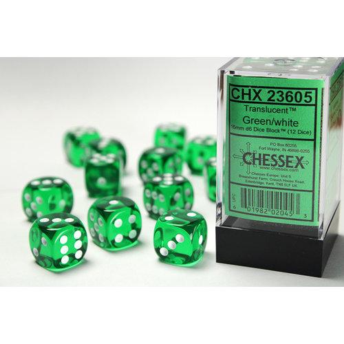 Chessex DICE SET 16mm TRANSLUCENT GREEN