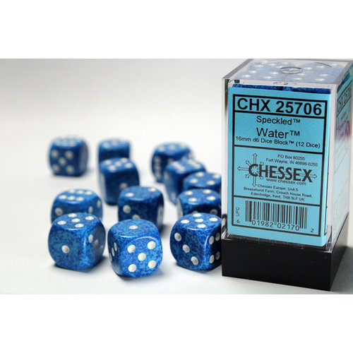 Chessex DICE SET 16mm SPECKLED WATER