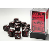DICE SET 16mm SPECKLED SILVER VOLCANO