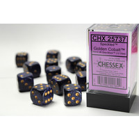 DICE SET 16mm SPECKLED GOLDEN COBALT