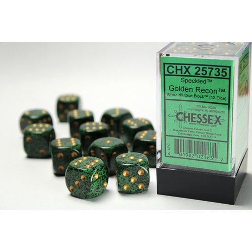 Chessex DICE SET 16mm SPECKLED GOLDEN RECON