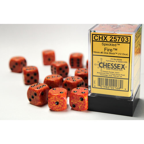 Chessex DICE SET 16mm SPECKLED FIRE
