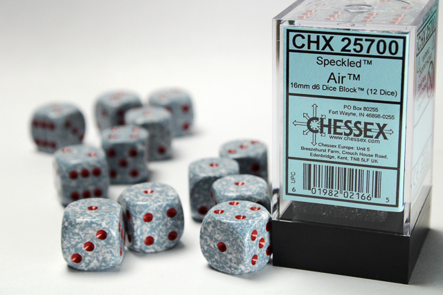 12 Air Speckled 16mm d6 Chessex Dice Sets